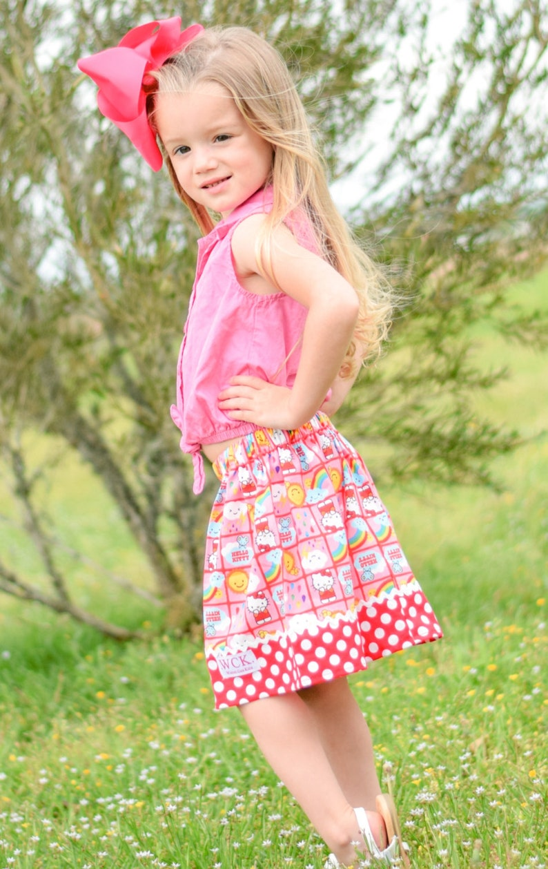 fdc116213 Hello Kitty small block print Skirt 18 mos 2T 3T 4T 5 | Etsy