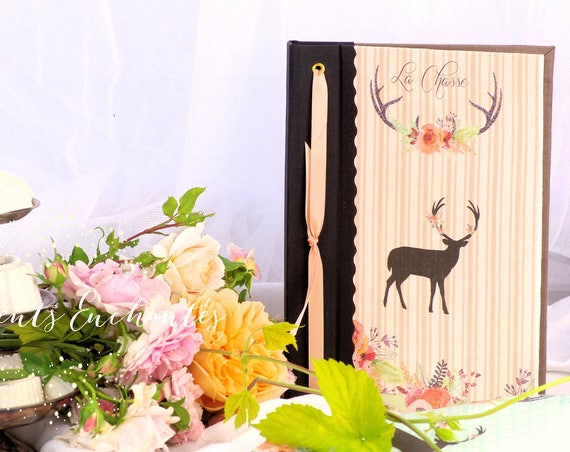 """Cadeau Carnet de chasse """" Le cerf """" chasseur chasseresse chasse au bois créateur français Cadeau"""