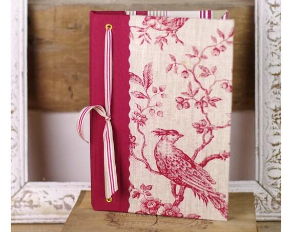 Livre d'or Carnet de notes ou croquis oiseau toile de jouy
