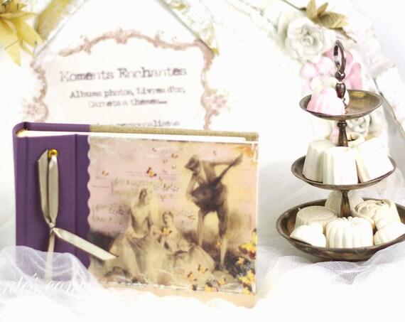 """Album photo """"  La ronde du mai """" style shabby chic rose et violet délicat papillons cadeau Noël"""