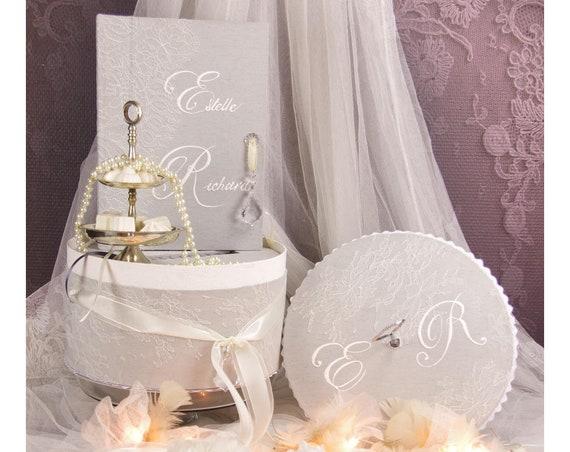 Cadeau Mariage Livre d'or et son urne mariage dentelle Moments Enchantés collection Nuage de dentelle dentelle de Calais personnalisé