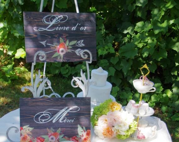 """Mariage Panneau mariage Baptême  """" Livre d'or """"  fleurs aquarelle pastel  bois pancarte"""
