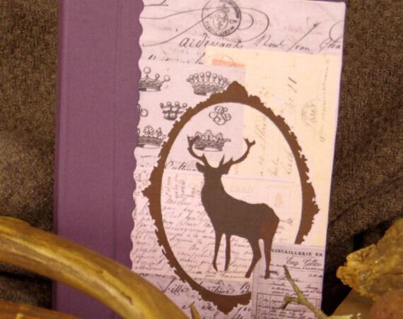 """Chasse art Carnet de chasse Personnalisé """" Le cerf """"  chasseur chasseresse chasse au bois vènerie chasse à courre cadeau chasse"""