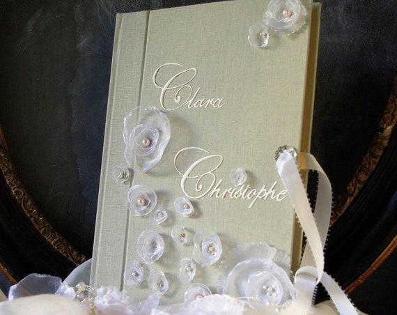 Mariage fleurs Livre d'or pour un mariage romantique et chic fleurs tissu livre d'or traditionnel