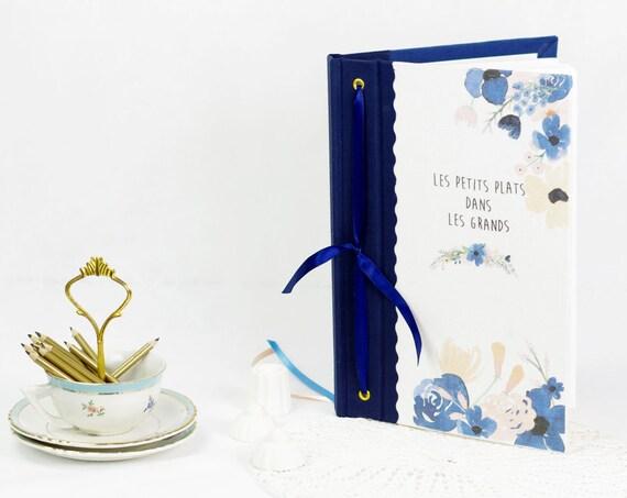 Cadeau Carnet ou livre de recettes gourmandises motifs aquarelle  carnet chef, organiseur de recettes  tissu lin