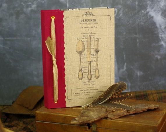 Carnet ou livre de recettes gourmandises, salé sucré carnet chef, organiseur de recettes  tissu lin