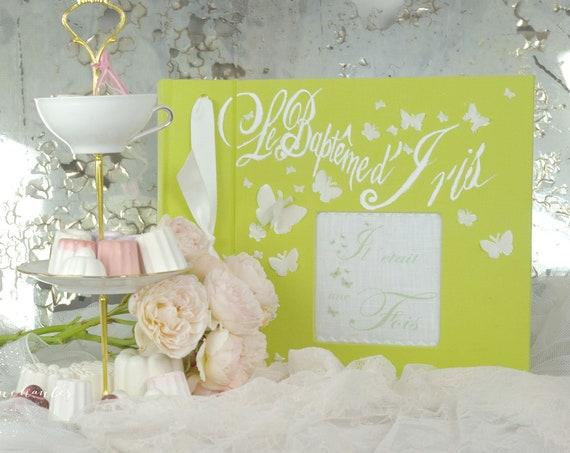 Mariage Baptême  Album photo mariage sur mesure papillons et ornements peint lin mariage naissance baptême