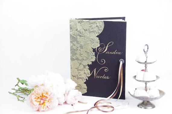 Cadeau mariage grand livre d' or dentelle Joli cadeau de mariage fabriqué à l'atelier Moments Enchantés
