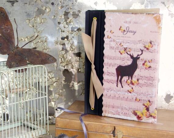 cadeau chasse art carnet de chasse imprimé cerf cadeau chasseresses chasse  rose