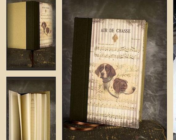 Carnet de chasse chien de chasse tableau de chasse à l'intérieur cadeau chasse chasseurs chasseresses dos reliure noir