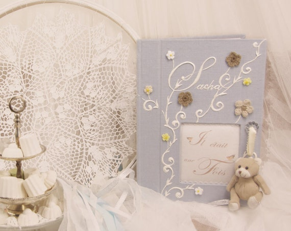 Baptême Grand Livre d'or chic bleu fleurs crochet journal de naissance garçon livre de souvenirs livre de vie personnaliser