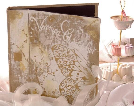 Cadeau Mariage Album photo mariage sur mesure papillons et ornements peint lin mariage naissance baptême rose