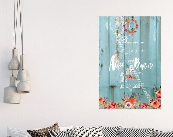 Mariage Panneau signatures Livre d'or alternatif décoration mariage façon bois bleu vos prénoms et la date de votre mariage