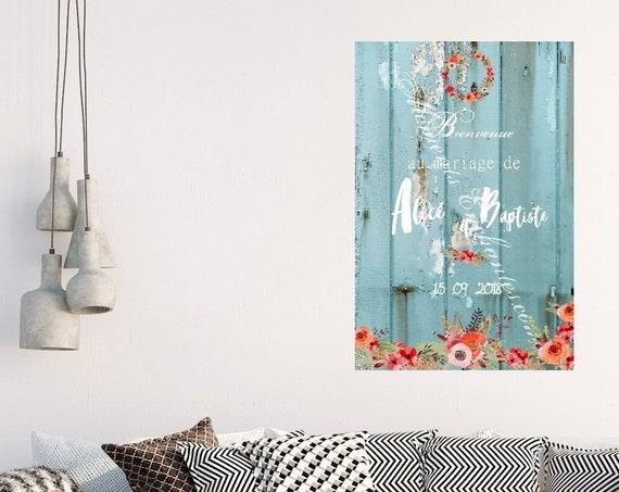 Mariage Panneau de bienvenue mariage  décoration bohème campagne champêtre mariage façon bois bleu