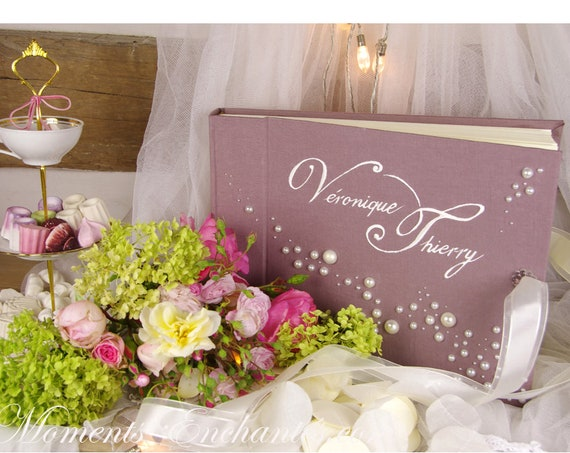 """Cadeau Mariage Baptême Album photo mariage """" Perles d'Amour """"sur mesure peint lin mariage naissance baptême"""