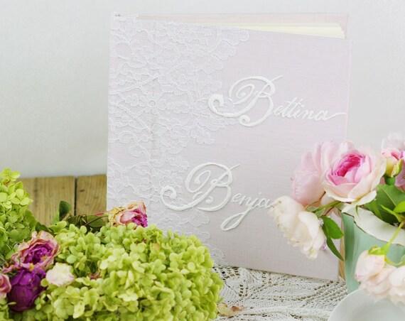 Livre d'or mariage Baptême dentelle de Calais cadeau mariage rose pâle made in France