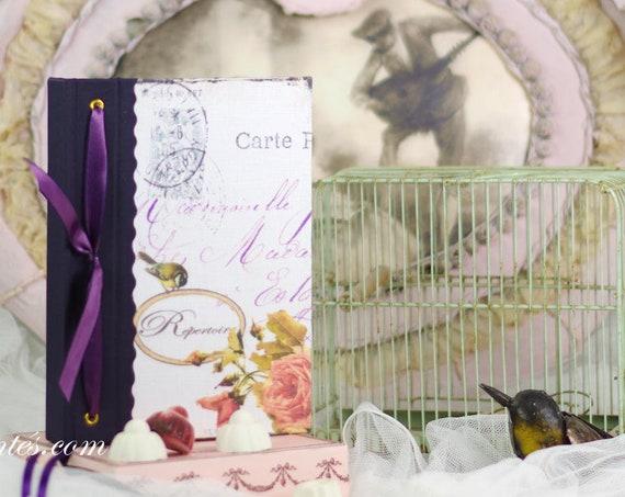 Grand répertoire téléphonique Mademoiselle style vintage mésange oiseau
