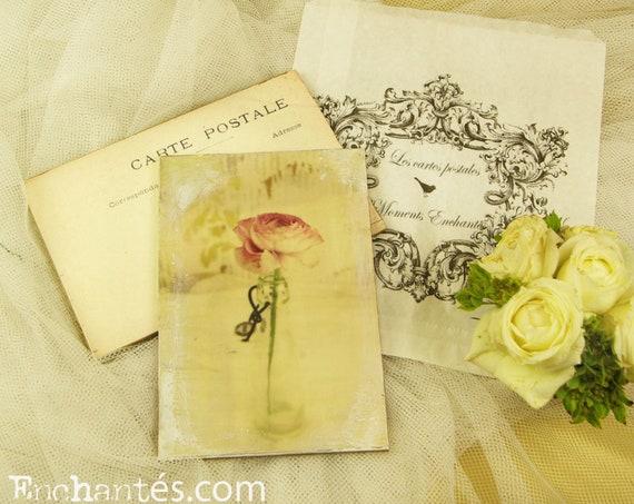 """Carte postale France Dijon """" Le renoncule """" carterie artistique fleurs romantique style"""