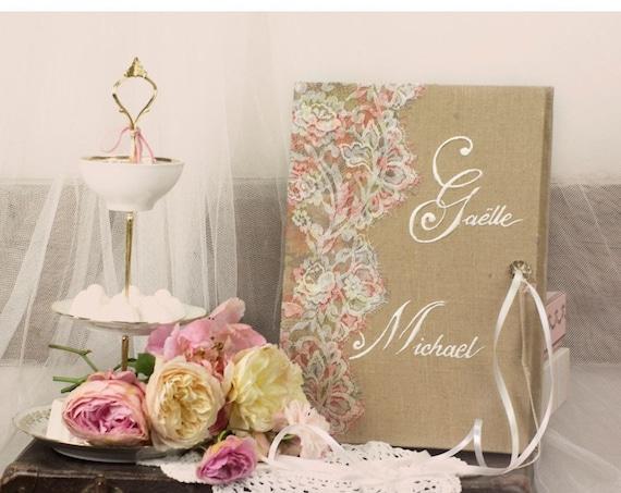 Cadeau mariage livre d' or dentelle Joli cadeau de mariage fabriqué en France