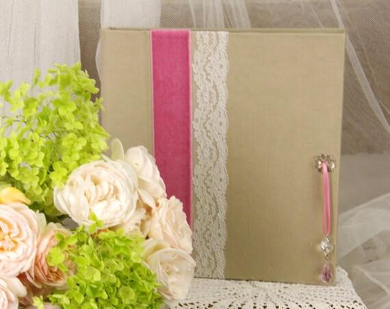 Carnet de notes carnet à poèmes à secrets ou livre d'or , carnet intime velours et pampille dentelle mariage boheme campagne chic nature