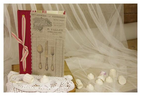 Carnet ou livre de recettes gourmandises, salé sucré carnet chef, organiseur de recettes  cadeau personnalisé Noël
