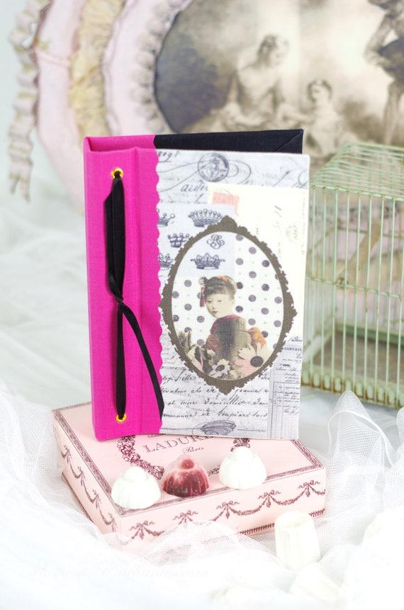 """Carnet de notes ou croquis """" Geisha """"  style vintage shabby chic japonais"""