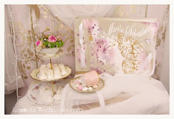 Livre d'or mariage sur mesure papillons et ornements peint lin mariage naissance baptême cadeau Noël famille