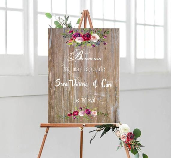 Mariage Panneau bienvenue mariage personnalisé décoration mariage façon bois