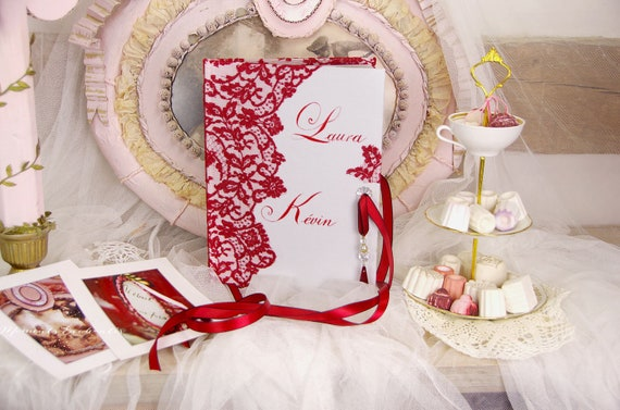 """Guest book """"Nuage de Dentelle"""" lace from Le Pas de Calais french lace red with your name Personalized"""
