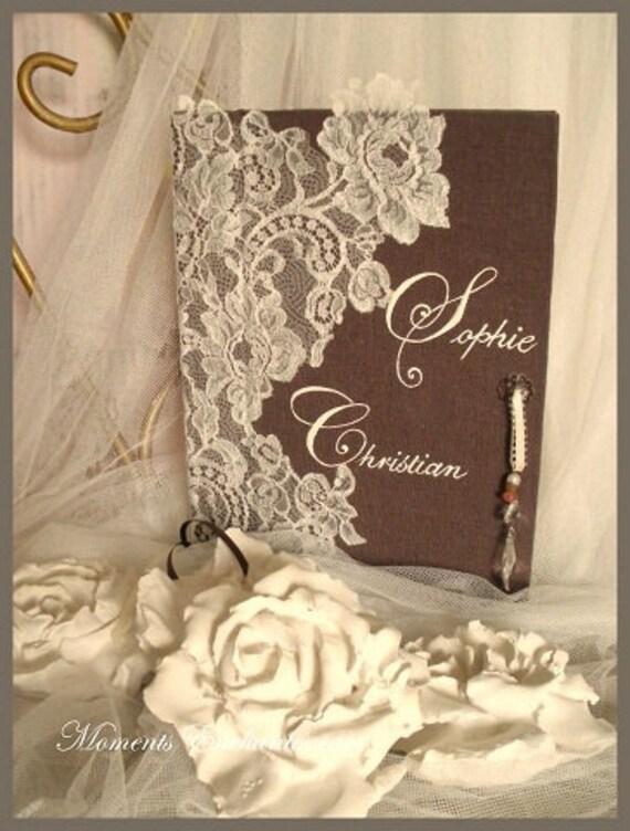 Cadeau mariage grand livre d' or dentelle Joli cadeau de mariage fabriqué en France à l'atelier Moments Enchantés