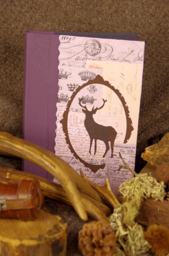 Hunting Deer venery book Personalize very nice journal write in French  vintage pictures organize your mothers' Day