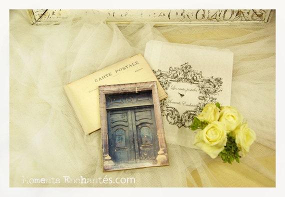 """Postcard France Dijon """"La porte bleue"""" carterie artistique"""
