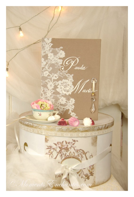 "Guest book "" Nuage de Dentelle "" lace from Le Pas de Calais french lace  with your name Personalized mothers' Day"