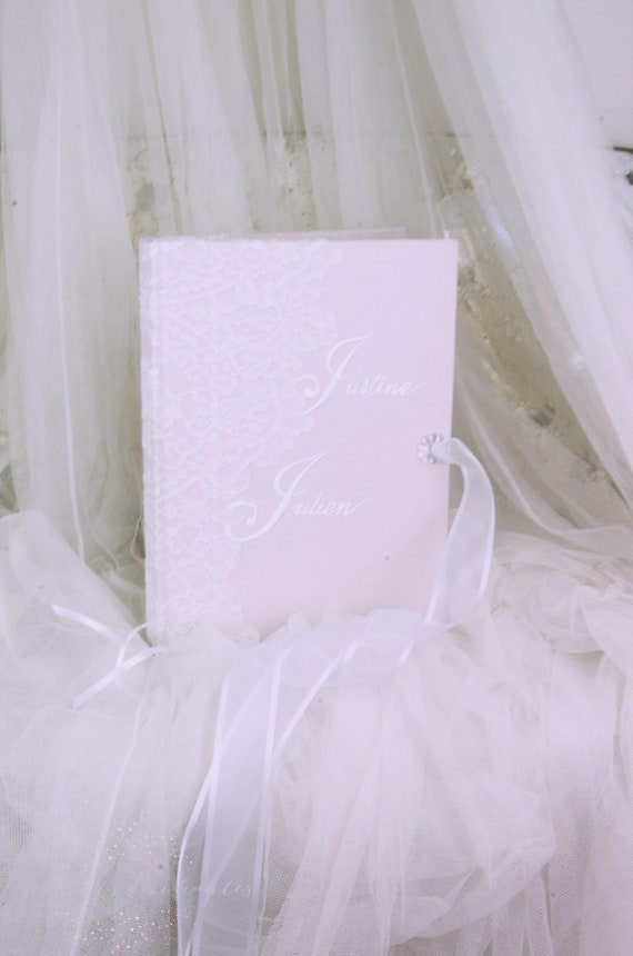 "Wedding Guest book ""Nuage de Dentelle"" lace from Le Pas de Calais french lace  with your name Personalized"