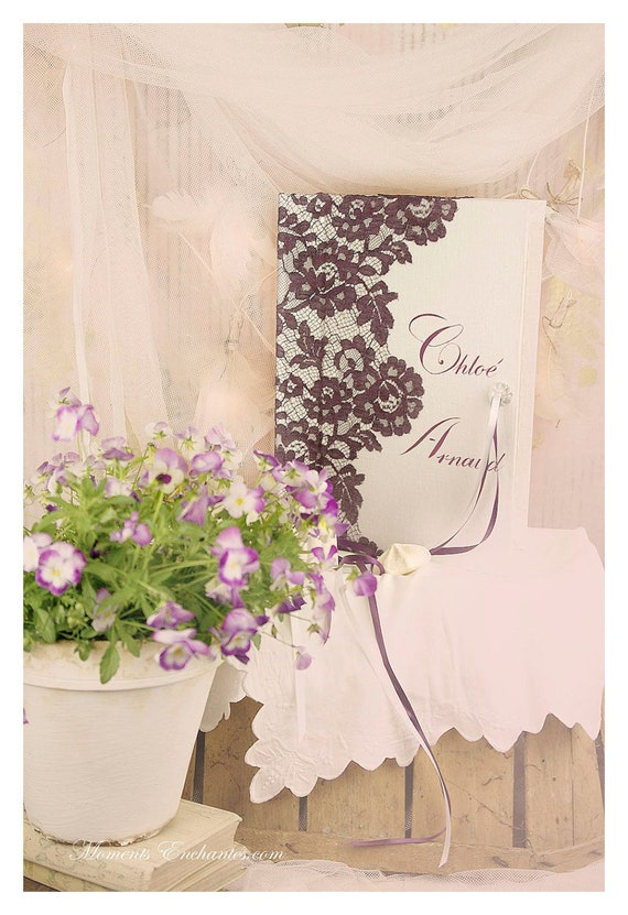 "Guest book ""Nuage de Dentelle"" lace from Le Pas de Calais french lace purple  with your name Personalized"