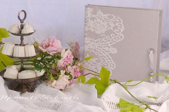 Livre d'or mariage Baptême dentelle de Calais blanche mariage chic