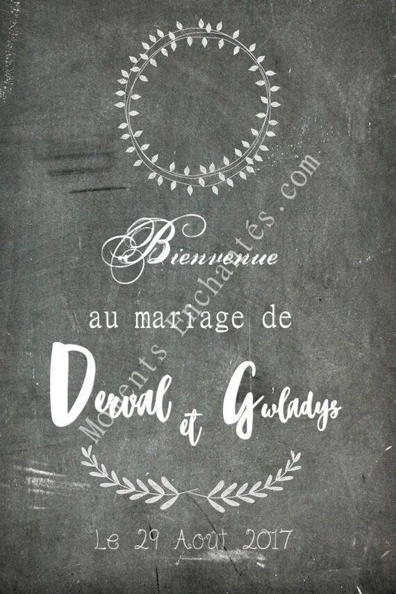mariage Panneau bienvenue mariage gris blanc décoration mariage