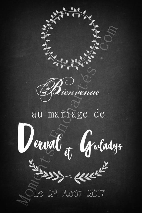 Cadeau  boho champêtre rustique Panneau mariage bienvenue gris blanc décoration mariage