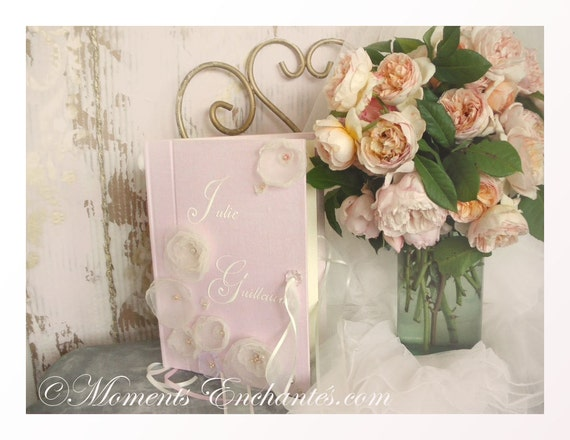 Nice guestbook floral symphony pink linen fabric flowers wedding castle french guestbook