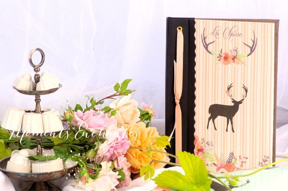 Hunting venery book very nice journal write in French  or blank pages vintage pictures Deer hunting girls huntress mothers' Day