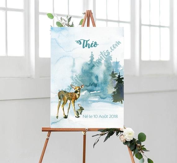 Panneau naissance baptême bleu blanc décoration mural tableau aquarelle bambi cadeau bébé garçon bay shower décor moments enchantes