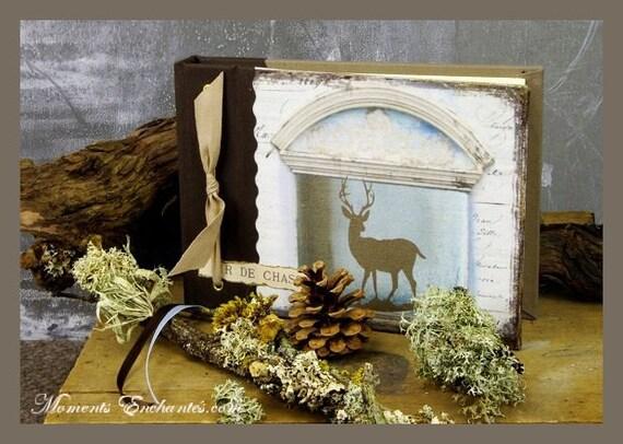 """Cadeau chasse Carnet de chasse """" Le cerf """" chasseur chasseresse chasse au bois créateur français Cadeau Noël"""