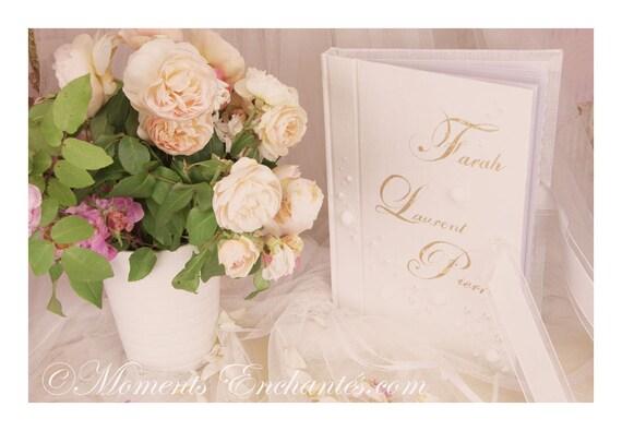 """Mariage Grand livre d'or """" Perles d'amour """"  blanc et or  ou blanc argent"""