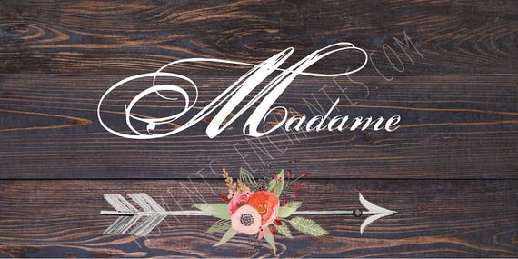"""Panneau mariage Baptême Bohème nature campagne """" Madame """"  flèche fleur aquarelle"""