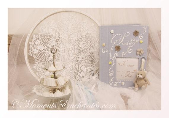 Baptême Livre d'or chic bleu fleurs crochet journal de naissance garçon livre de souvenirs livre de vie personnaliser mothers' Day