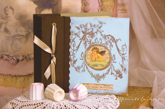 """Album photo Baptism new born """"blue angel """" blue and brown  vintage style mothers' Day"""