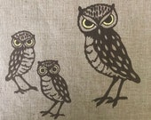 3 Vintage MCM Owl Family Silkscreened Leona Caldwell Originals Fabric Pieces Owl Family Fabric Pieces for Quilting, Crafting, Sewing Project