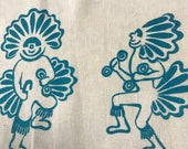 Vintage Kachina Fabric Lot Leona Caldwell Hand Silkscreened Kettle-Cloth Southwestern Designs for Sewing, Quilting, Crafting, Hobbies