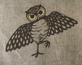 Lot of 7 Vintage Owl MCM Hand Silkscreened Leona Caldwell Fabric Vintage Brown Owl Fabric Pieces for Quilting, Crafting, Sewing Projects