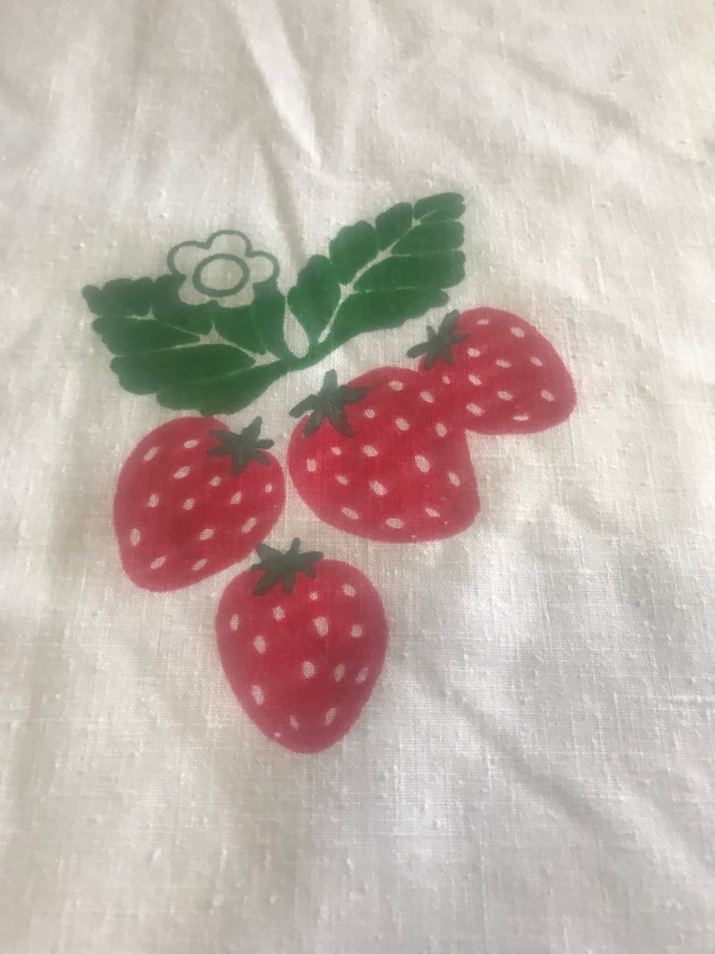 Vintage Strawberry Hand Silkscreened Leona Caldwell Originals Fabric Vintage Strawberry Fabric for Quilting Sewing Projects Crafting